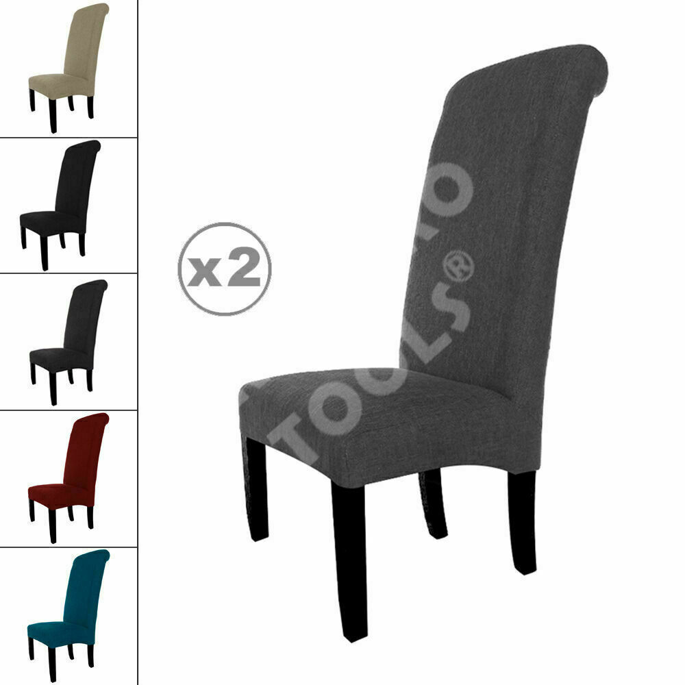 2 New Linen Fabric Dining Chairs Roll Top Scroll High Back