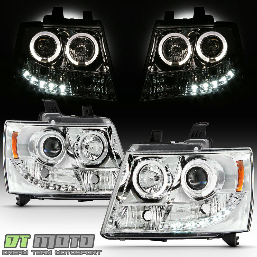 2014 Chevy Tahoe >> 2007-2014 Suburban Tahoe Avalanche DRL LED Projector Halo Headlights 07-14 Lamps | eBay