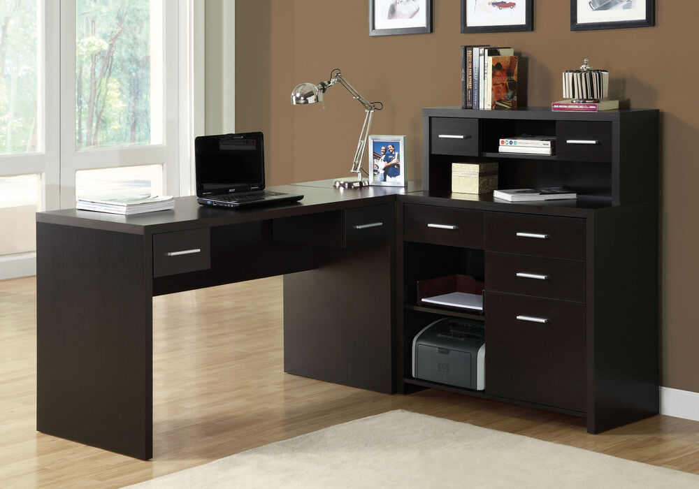 Monarch Specialties Hollow Core L Shaped Home Office Desk