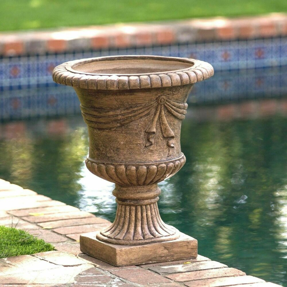 Tall light brown stone roman decor outdoor garden urn for Decorative outdoor pots