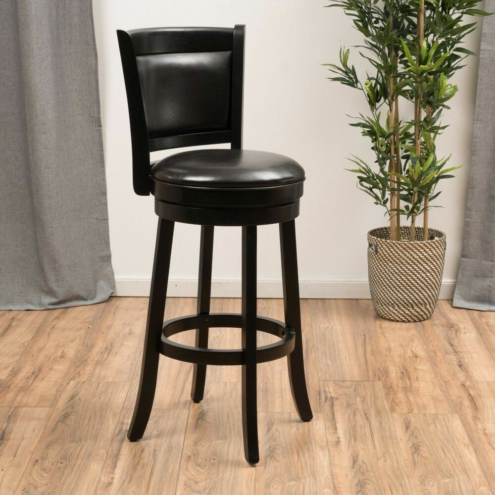 Traditional Brown Leather Swivel Backed Barstool Ebay