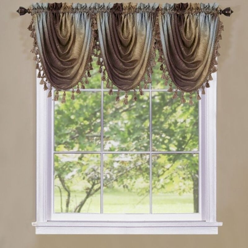 Achim Ombre Waterfall Valance OMWFVLCH06 Window Curtain