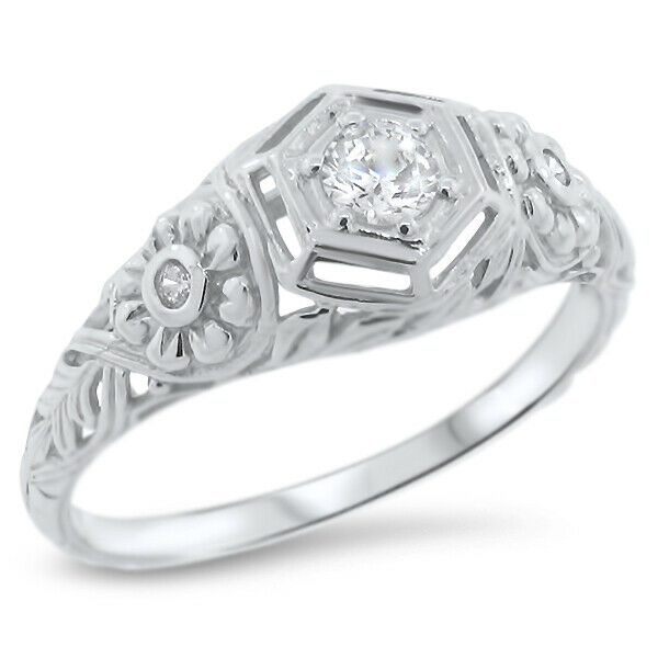 ENGAGEMENT WEDDING ANTIQUE STYLE 925 STERLING SILVER CZ RING SIZE 10, #839 | eBay