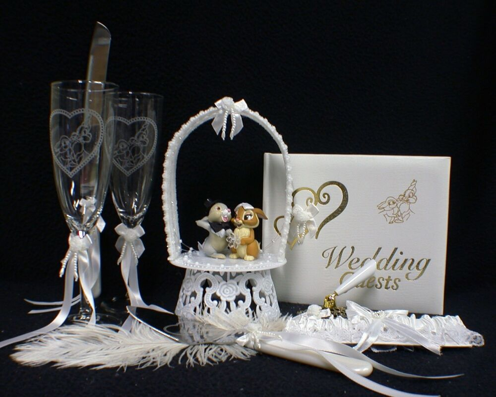 Thumper Disney Wedding Cake Topper Lot Glasses Bambi Ebay