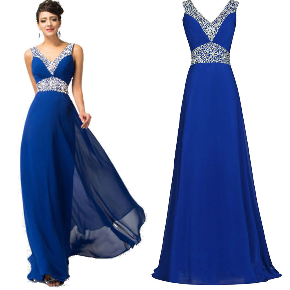 Blue Long Chiffon Ball Gowns Party Formal Evening Prom