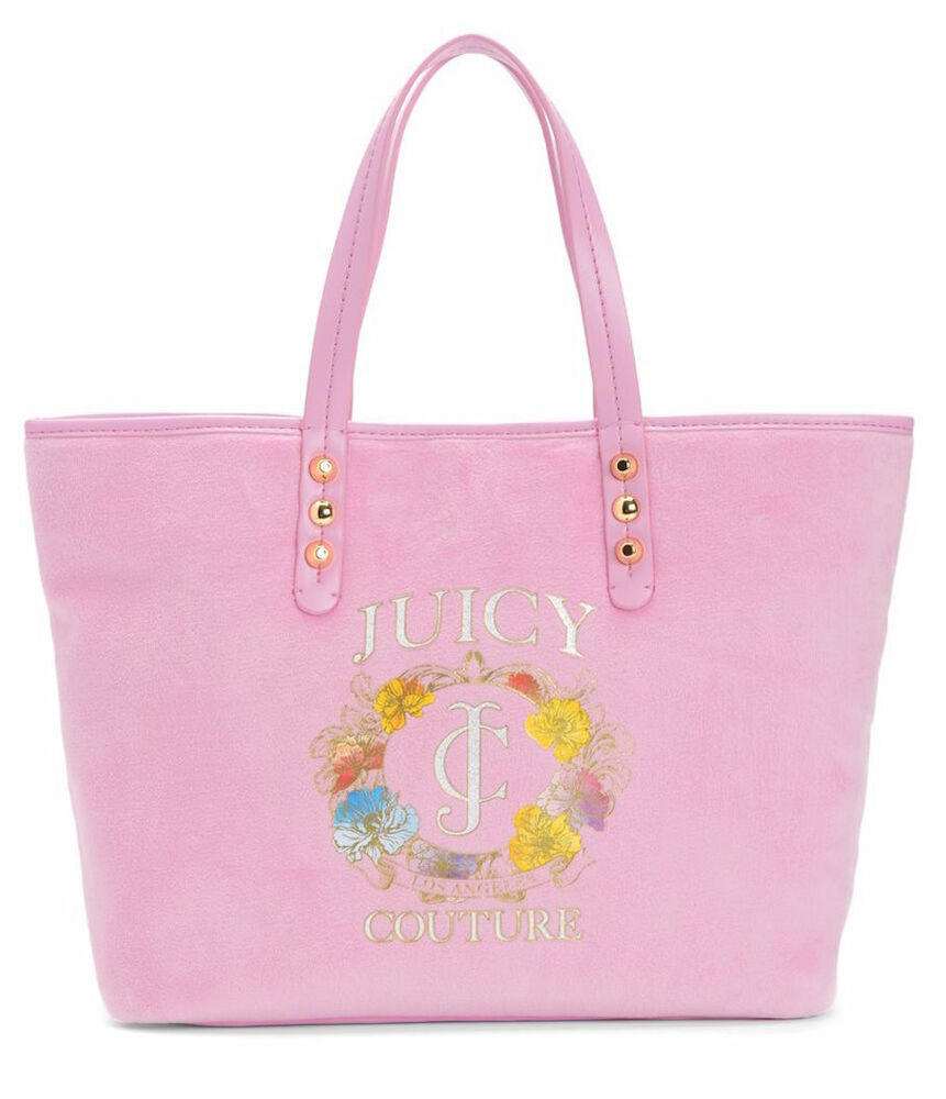 juicy couture girl bag pink velour pammy tote flowers new ebay. Black Bedroom Furniture Sets. Home Design Ideas