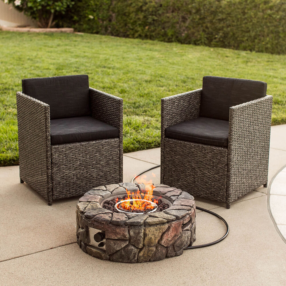 best choice products bcp stone design fire pit outdoor home patio gas firepit ebay. Black Bedroom Furniture Sets. Home Design Ideas