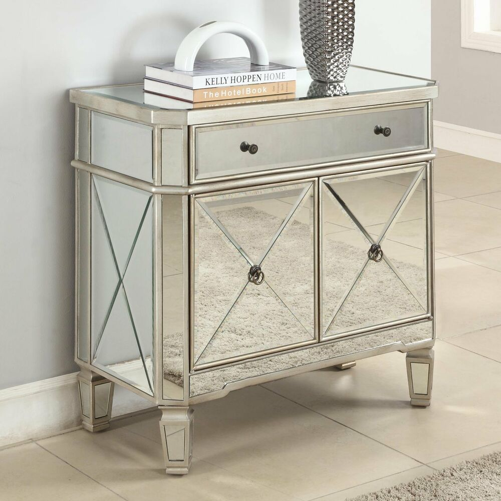Set Of 2 GLAM MIRRORED FURNITURE DRESSER BEDROOM