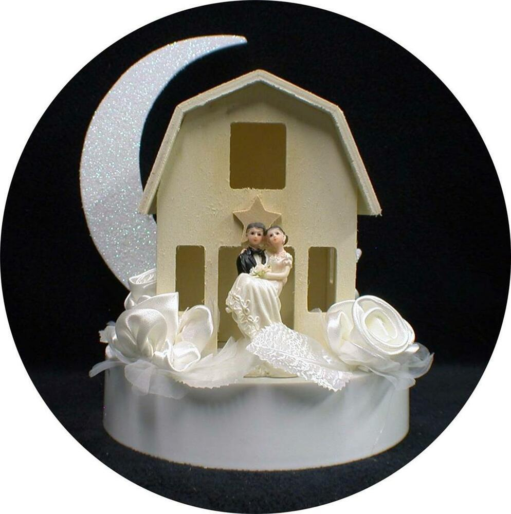 Shabby Wood Barn Country Western Wedding Cake Topper Funny