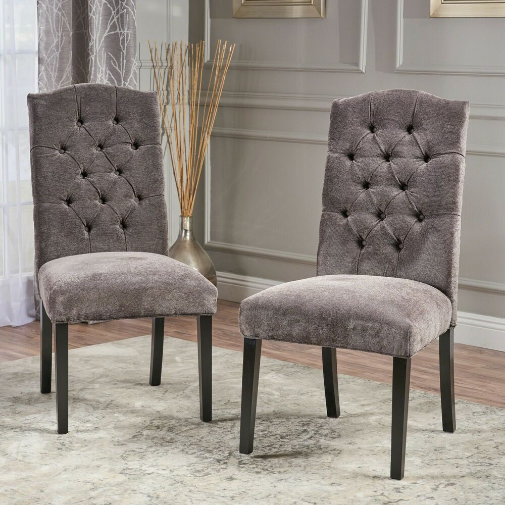 Set Of 2 Elegant Tufted Grey Linen Upholstered Crown Back