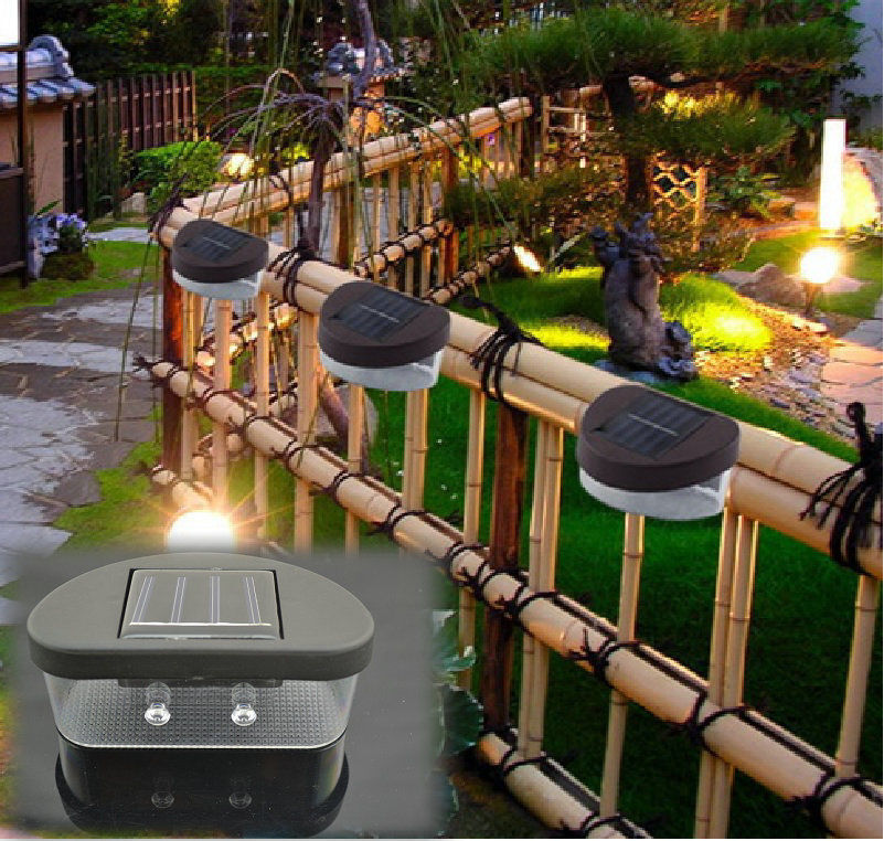 outdoor solar powered led path wall landscape mount light lamp garden