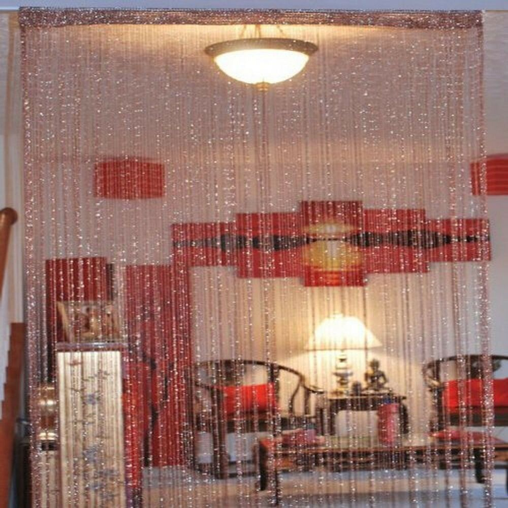 String curtain drapery room divider partition burgundy - Partition room with curtains ...