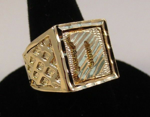B Letter In Gold Ring MENS 14KT GOLD EP BLIN...