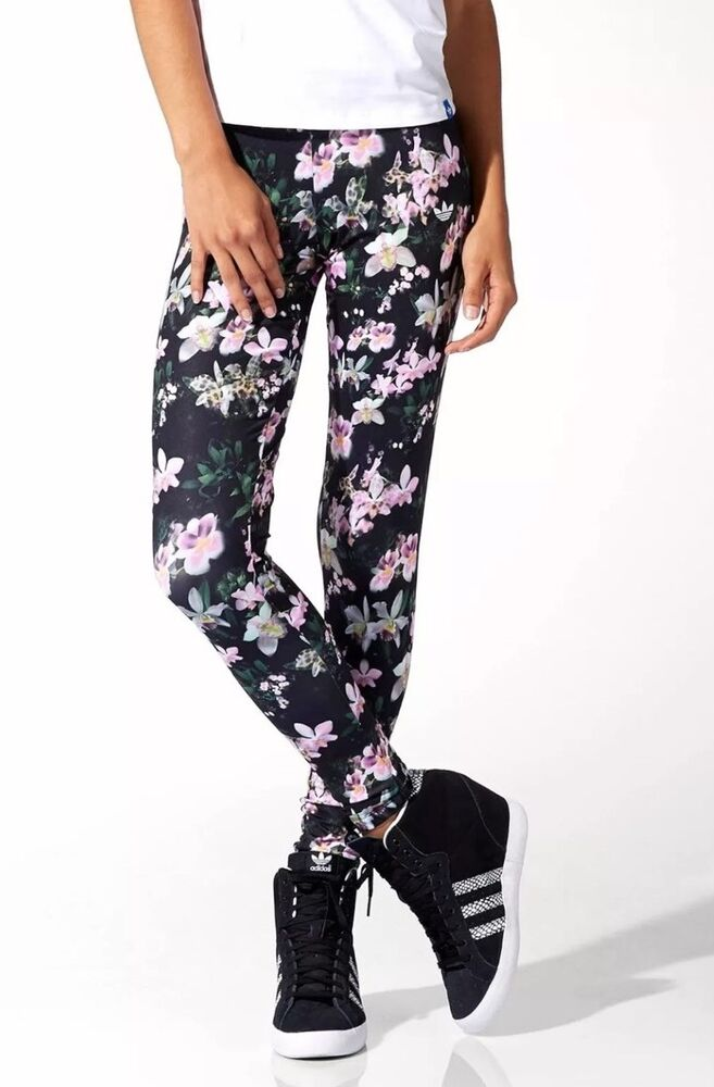 ffba83c98ec86 Details about NWT Adidas Originals Orchid Floral Leggings Skinny Leg  Athletic Pants Size XS