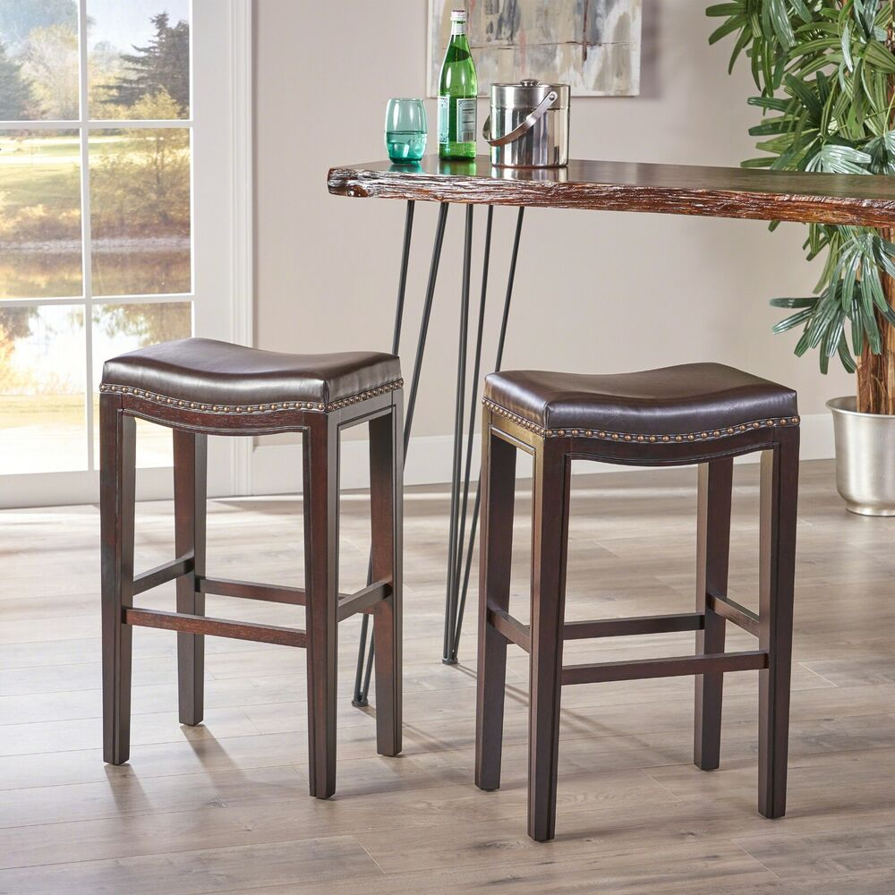 Set Of 2 Brown Leather Backless Bar Stools W Studded