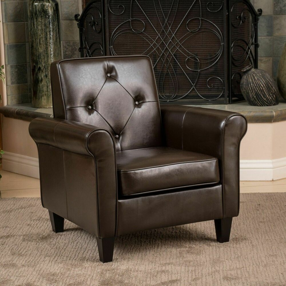 Living room furniture brown leather club chair w tufted for Leather furniture for small living room