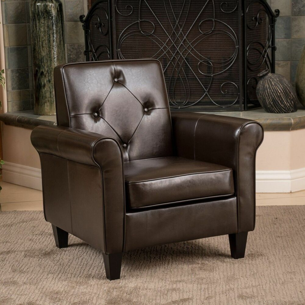 Living room furniture brown leather club chair w tufted for Living room chairs