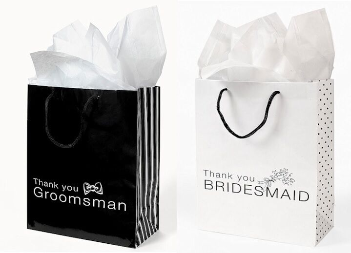 Thank You Gifts For Wedding Party: 12 THANK YOU Gift Bags Groomsmen & Bridesmaid Black White