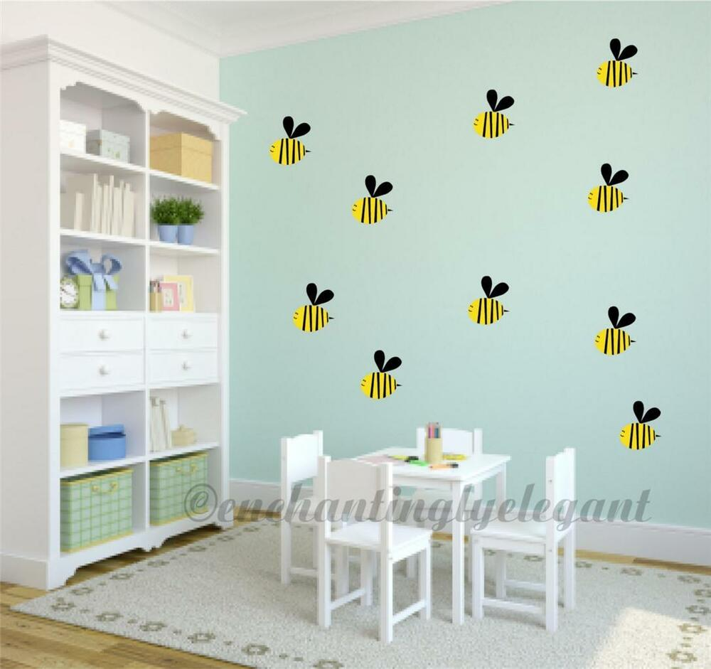 Bumble bees vinyl decal wall stickers baby nursery room for Baby room decoration wall stickers