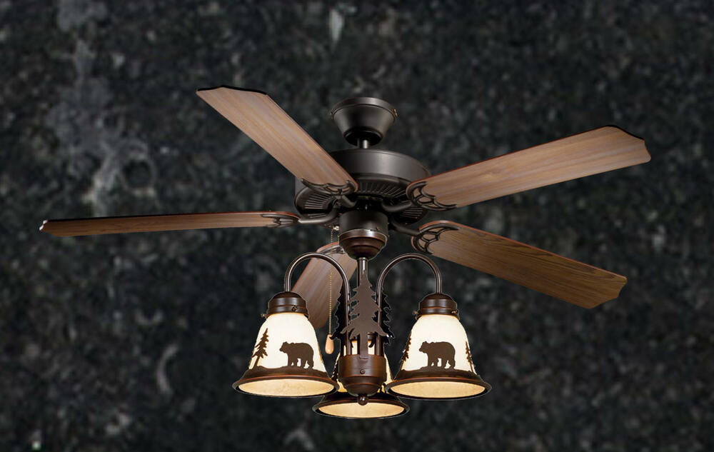 52 Quot Lodge Rustic Cabin Country Ceiling Fan W Light Kit
