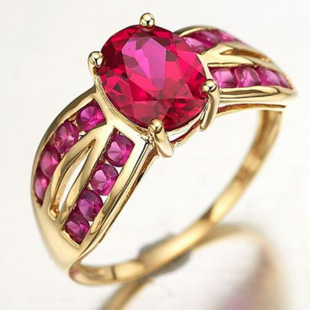 Fashion Size 6 7 8 9 Popular Red Ruby 10K Gold Filled ...