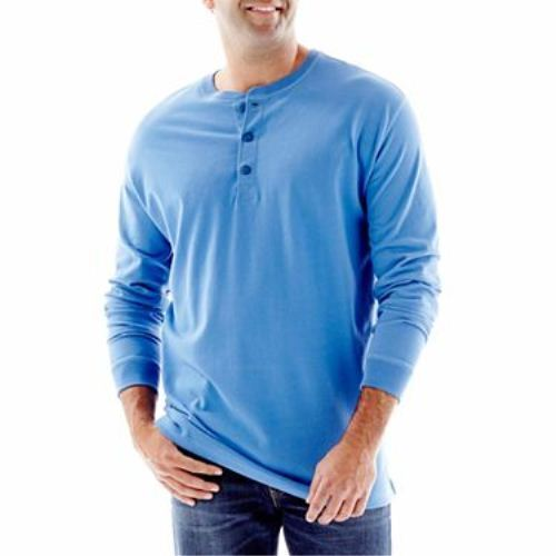 The foundry supply co solid sueded cobalt blue henley big for Foundry men s polo shirts