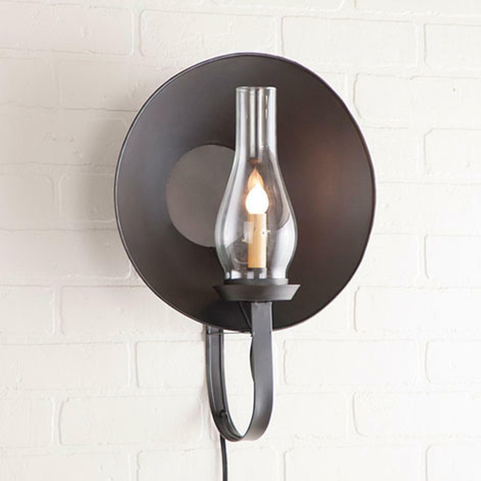 country new smokey black hurricane wall sconce light w hurricane globe plug in ebay. Black Bedroom Furniture Sets. Home Design Ideas