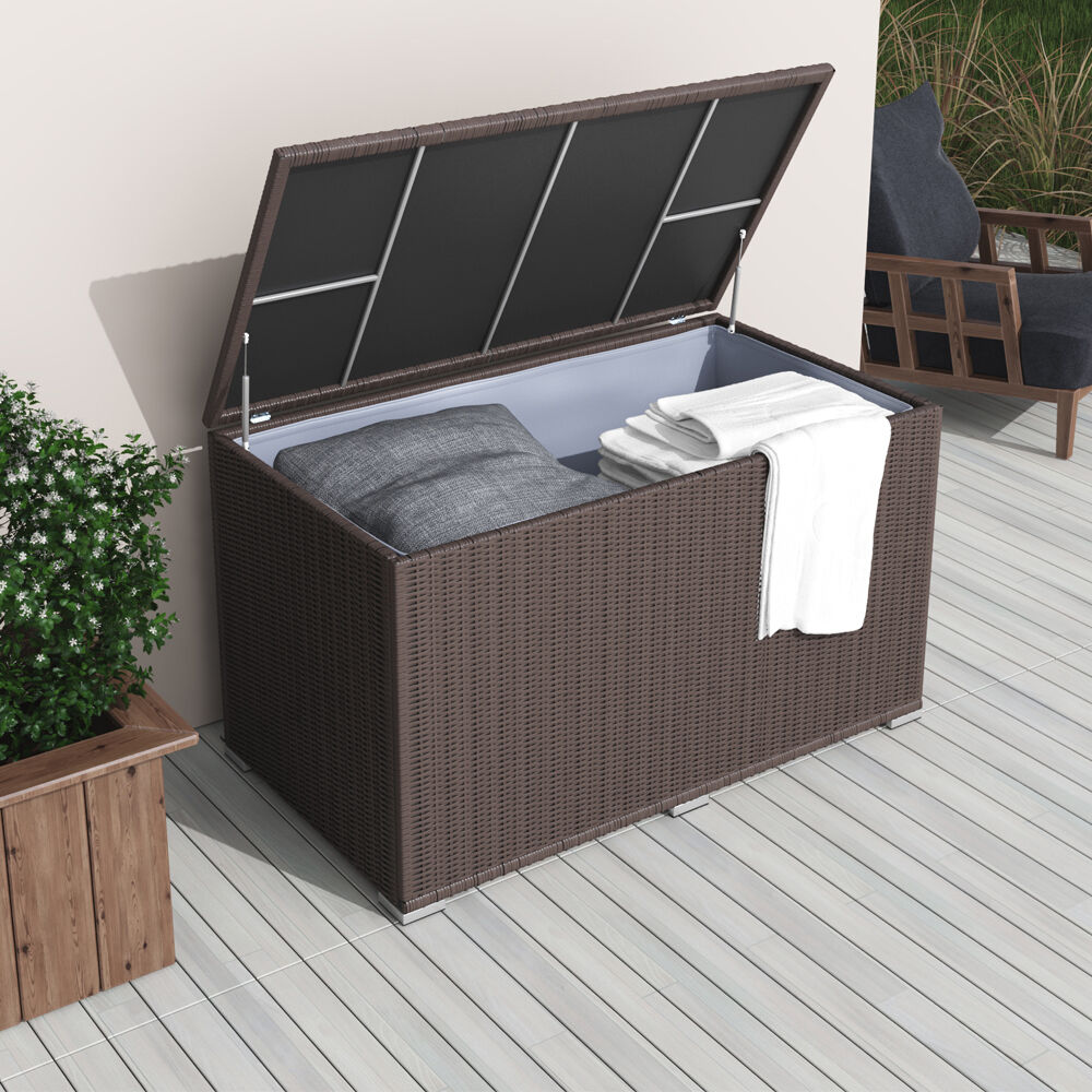 xxl polyrattan kissenbox 950l braun auflagenbox gartenbox gartentruhe auflagen ebay. Black Bedroom Furniture Sets. Home Design Ideas
