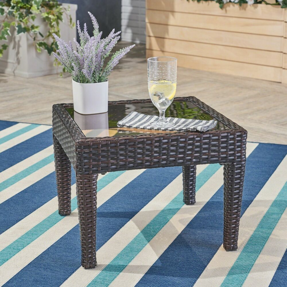 contemporary outdoor brown wicker side table ebay. Black Bedroom Furniture Sets. Home Design Ideas