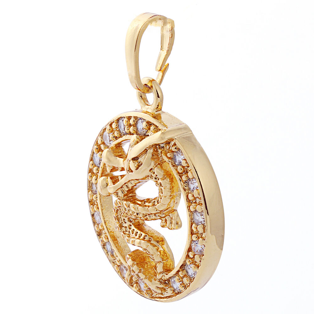 Fashion jewelry vintage yellow gold filled dragon clear for Gold filled jewelry