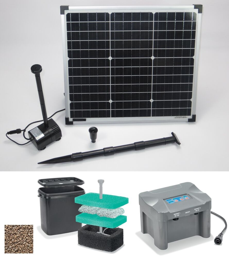 30 w solarpumpe solar teichpumpe akku filter gartenteichpumpe tauchpumpe pumpe ebay. Black Bedroom Furniture Sets. Home Design Ideas