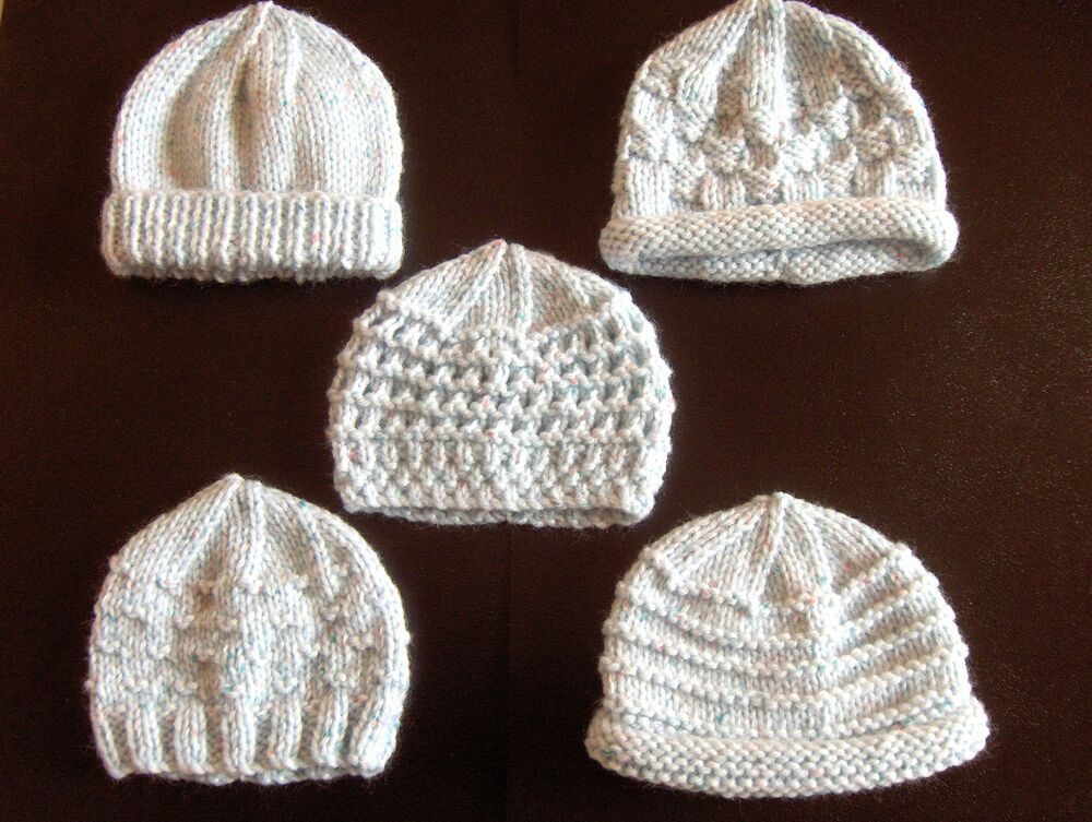 Knitting Pattern For Premature Baby Blanket : Premature Small Baby Knitting Pattern For 5 Hats eBay