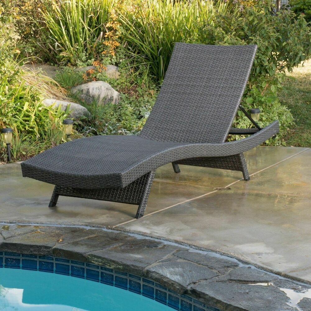 Outdoor patio grey wicker folding chaise lounge chair w - Folding outdoor chaise lounge ...
