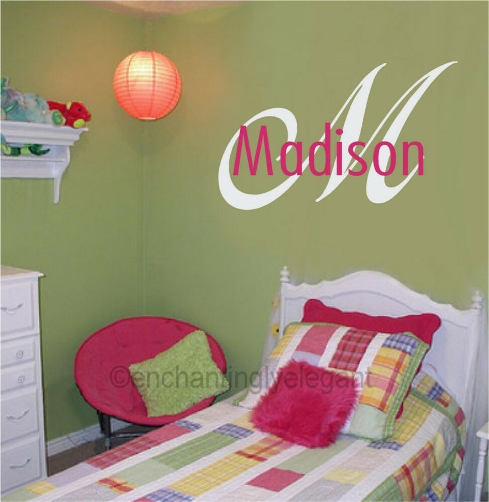 custom monogram name vinyl decal wall sticker words letter teen room decor ebay. Black Bedroom Furniture Sets. Home Design Ideas