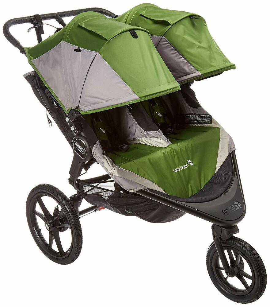 Baby Jogger 2015 Summit X3 Double Stroller Green Grey