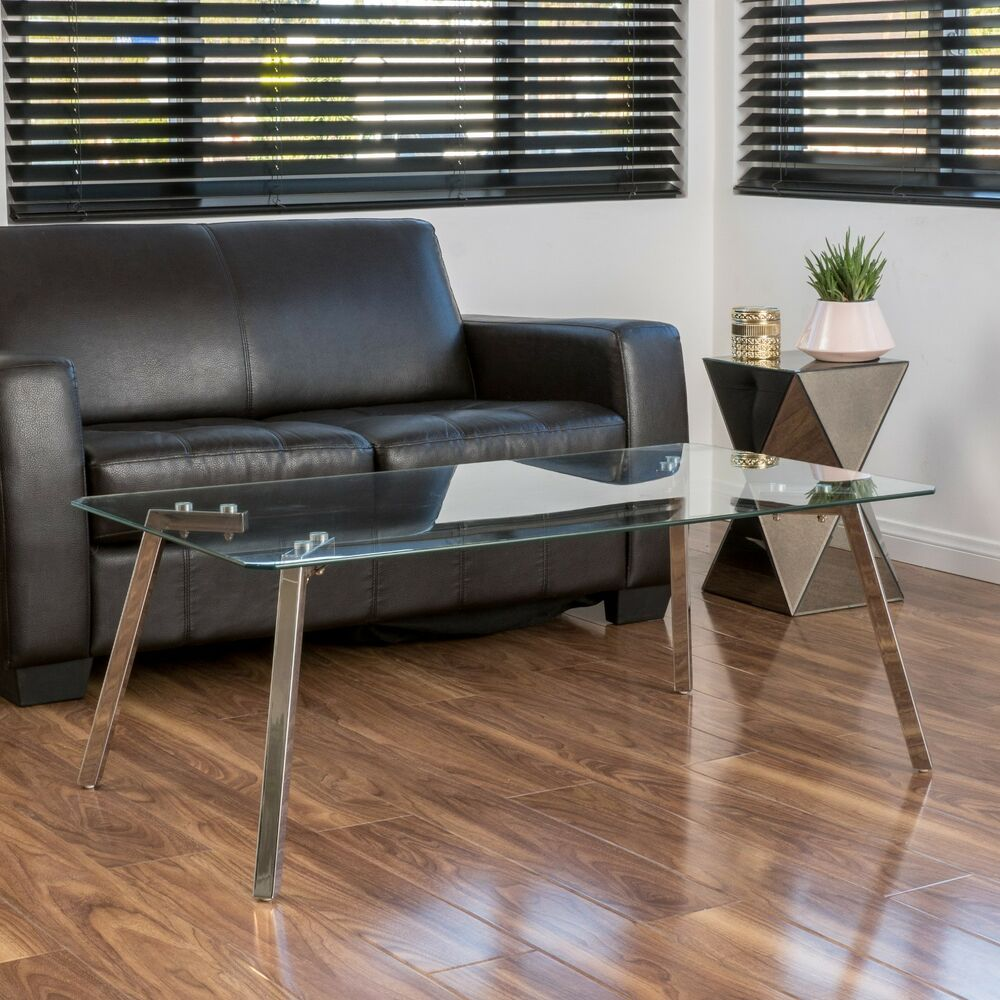 Glass Top Rectangular Coffee Table: Contemporary Tempered Glass Rectangle Coffee Table