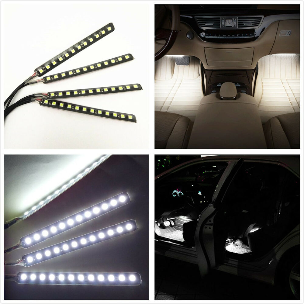Car suv charge 12v interior floor decorative white led atmosphere glow lights ebay for Led car interior lights ebay