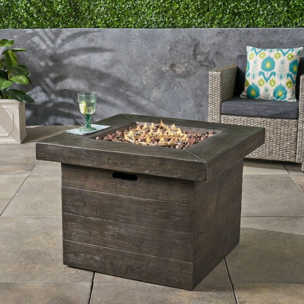 Outdoor Natural Wood Finish Square Liquid Propane Fire Pit Ebay