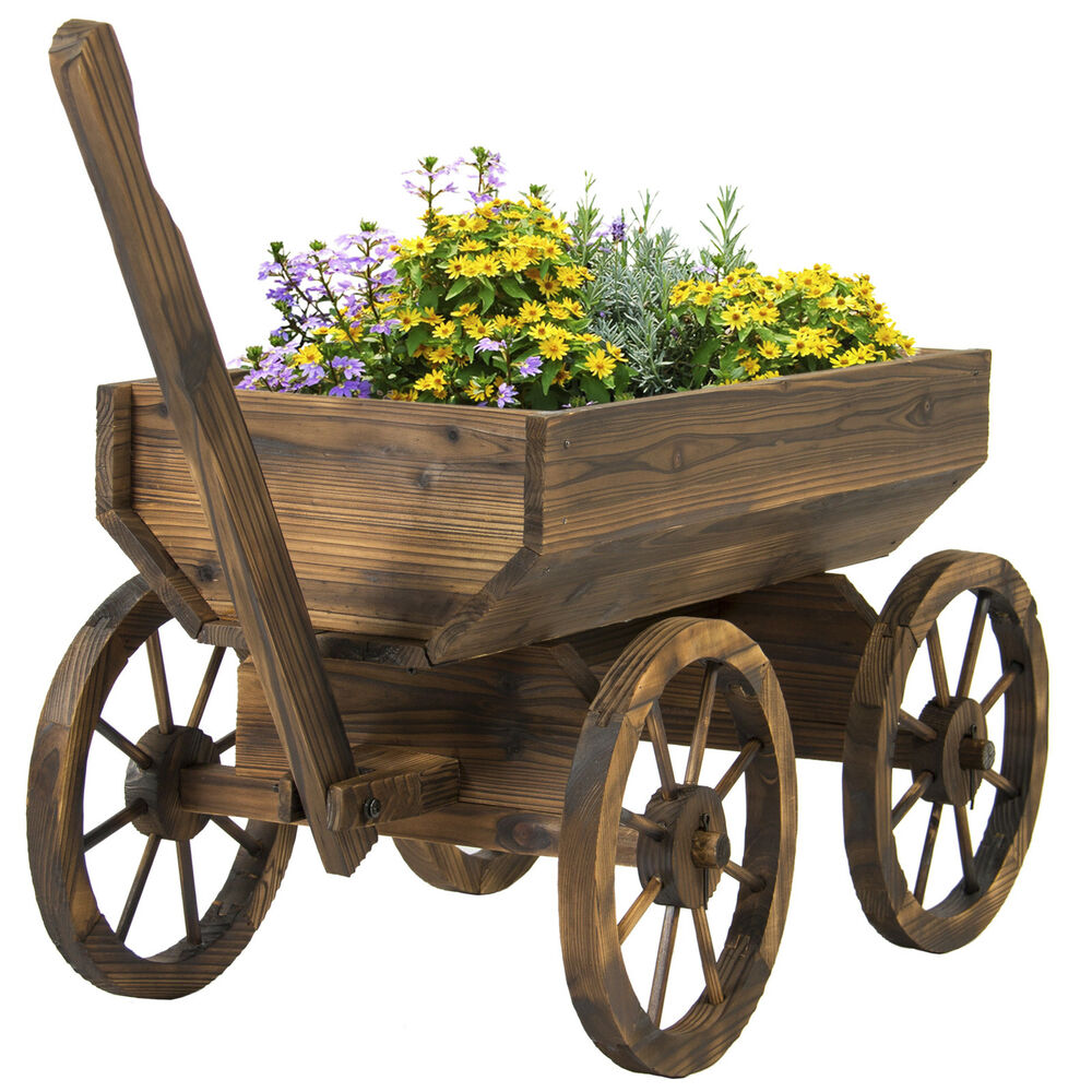 Garden wood wagon flower planter pot stand with wheels for Wooden garden decorations