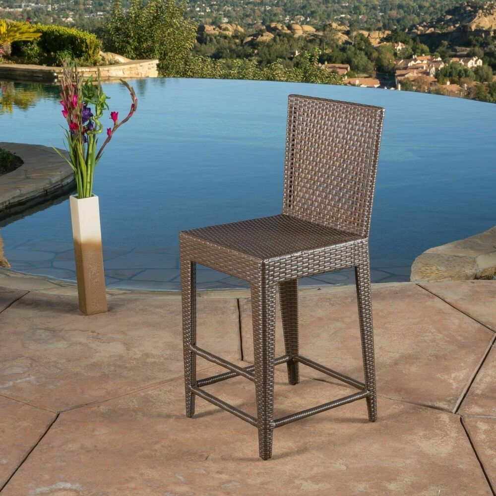 Outdoor patio furniture all weather brown wicker barstool for All weather garden chairs