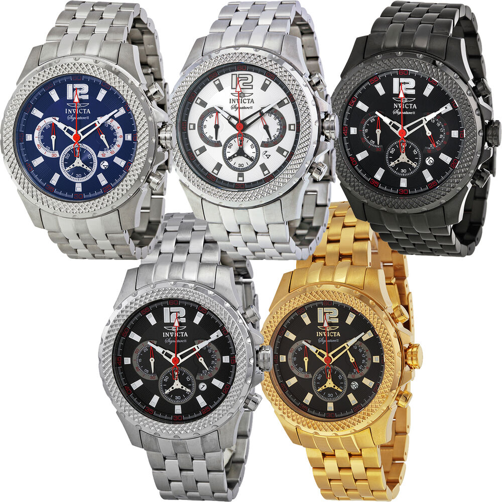 Invicta signature ii pilot chronograph mens watch ebay for Watches on ebay