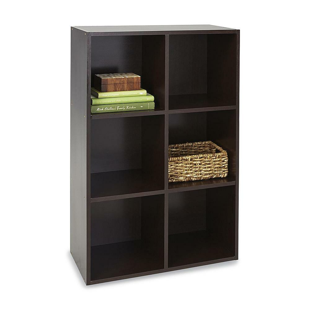 New brown 6 cube storage unit shelves room furniture for Room furniture organizer