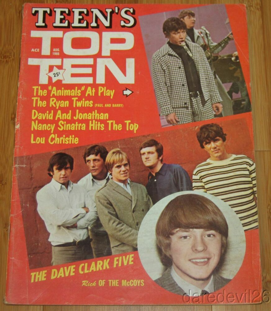 vintage aug 1966 teen 39 s top ten magazine the animals dave clark five ebay. Black Bedroom Furniture Sets. Home Design Ideas