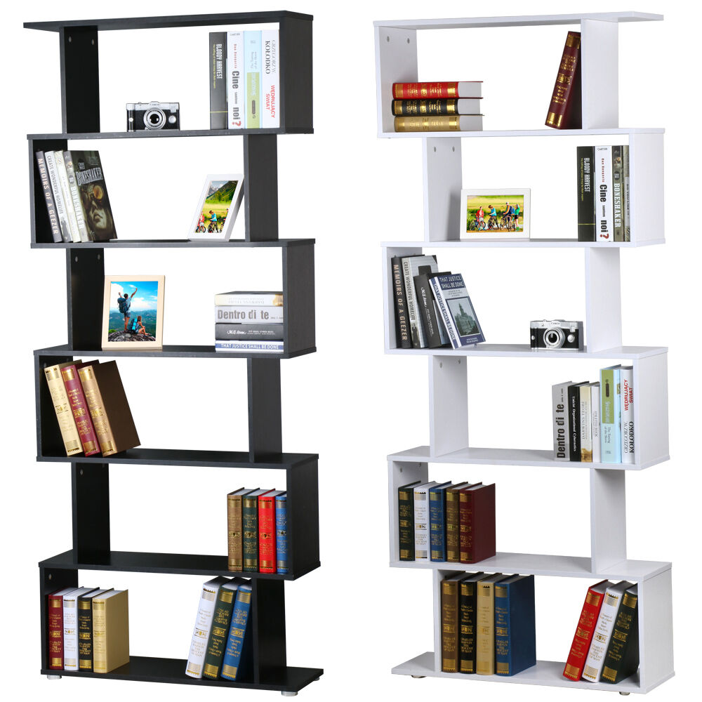 S Shape Storage Display Unit Wood Bookcase Bookshelf Shelves Home Furniture  | eBay