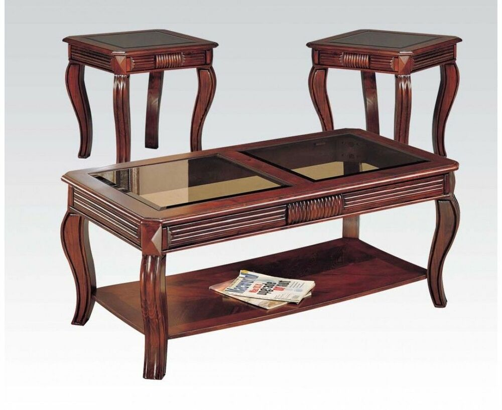 Acme Furniture 06152 Overture 3pc Coffee And End Table Set Cherry New Ebay
