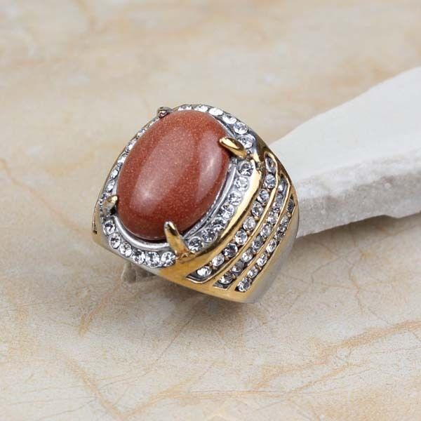 Fashion Stainless Steel Brown Stone Gold Plated Women Men