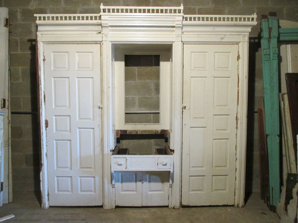 Antique oak built in closet front butlers pantry armoire for 1800 closets