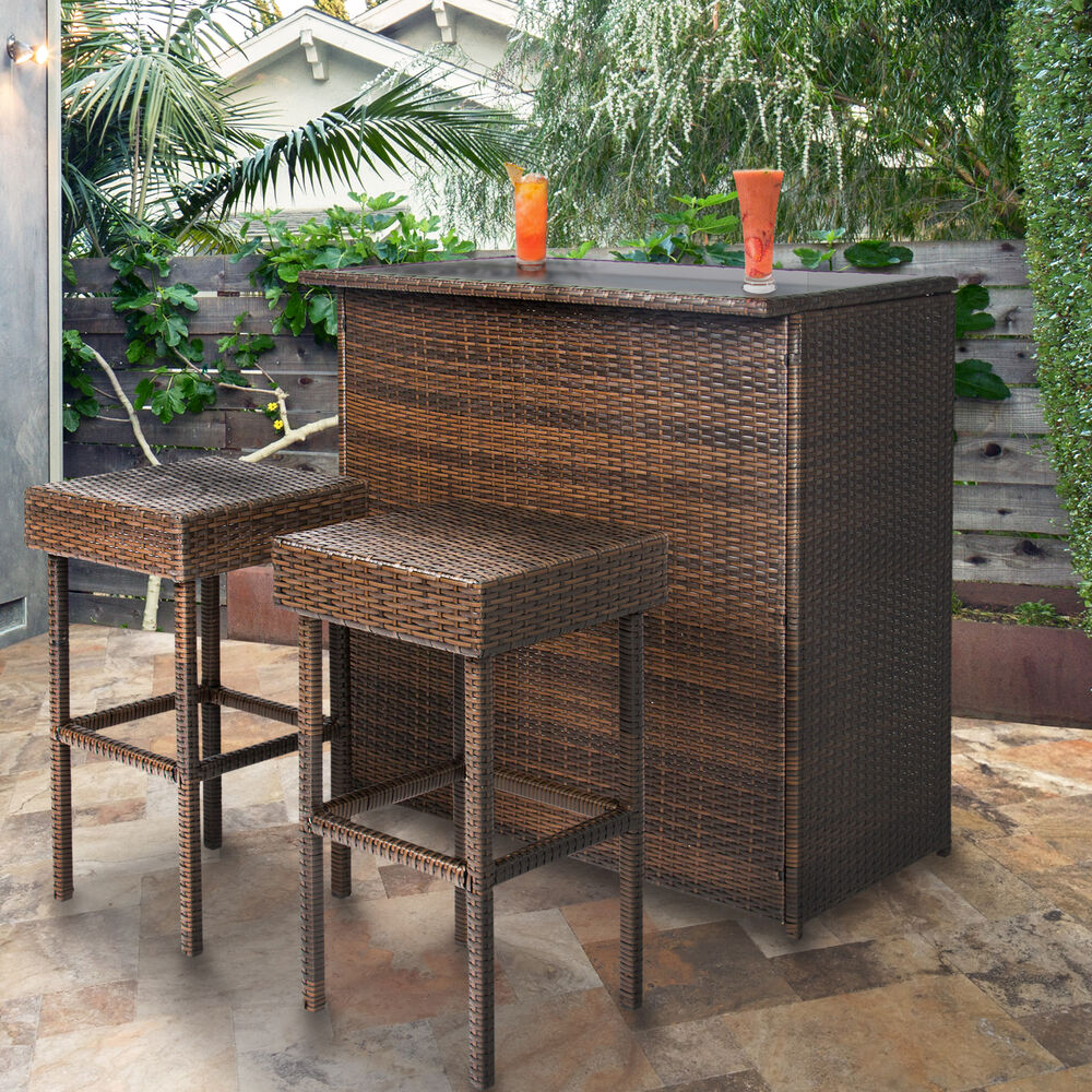 3PC Wicker Bar Set Patio Outdoor Backyard Table & 2 Stools