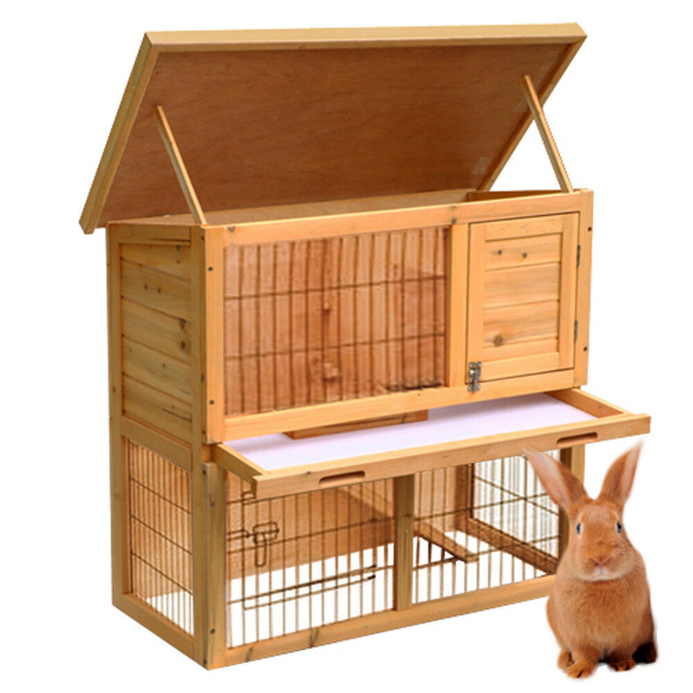 Wooden rabbit guinea pig ferret hutch run 2 tier pet house for Free guinea pig hutch