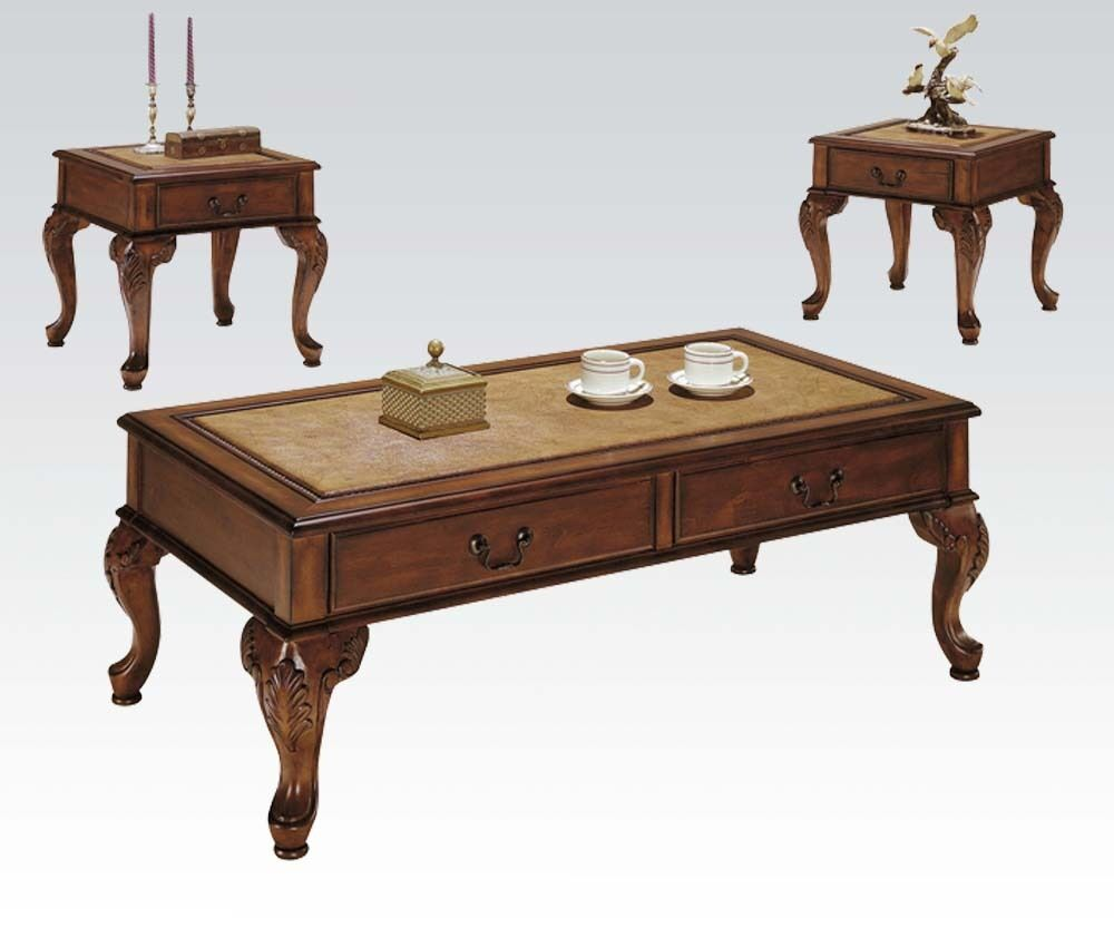 Acme Furniture Trudeau 3 Piece Coffee End Table Set In Cherry Finish 9652 New Ebay